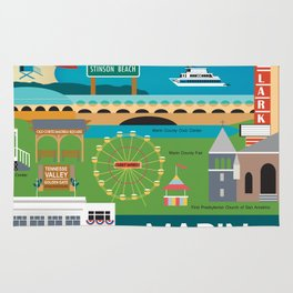 Marin County, California - Collage Illustration by Loose Petals Rug