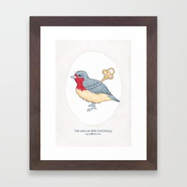 Haruki Murakami's The Wind-Up Bird Chronicle // Illustration of a Bird with a Wind-up Key in Pencil Framed Art Print