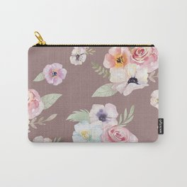 Floral I - Cocoa Carry-All Pouch