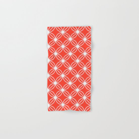 Abstract Circle Dots Red Hand & Bath Towel