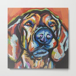 Fun Plott Hound Dog Portrait bright colorful Pop Art Metal Print