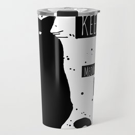 Hand drawn grange black cat Travel Mug