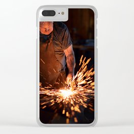 Sparks when blacksmith hit hot iron Clear iPhone Case