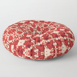 ikat geo mix patched in brigh red Floor Pillow