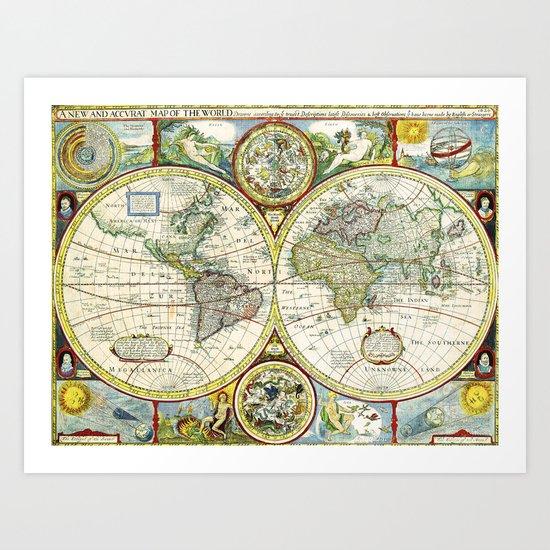 Vintage World Map Antique Art Print