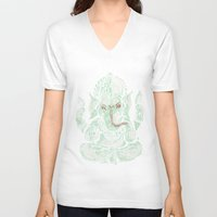 ganesha V-neck T-shirts featuring Ganesha by Thomcat23