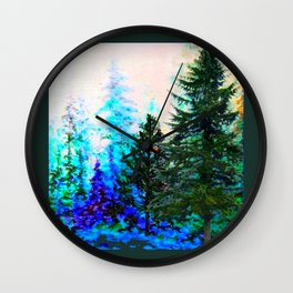 SCENIC BLUE MOUNTAIN GREEN PINE FOREST Wall Clock