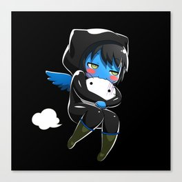 Fuzzy Chibi Luc (Expression 2) w/ Black Background Canvas Print