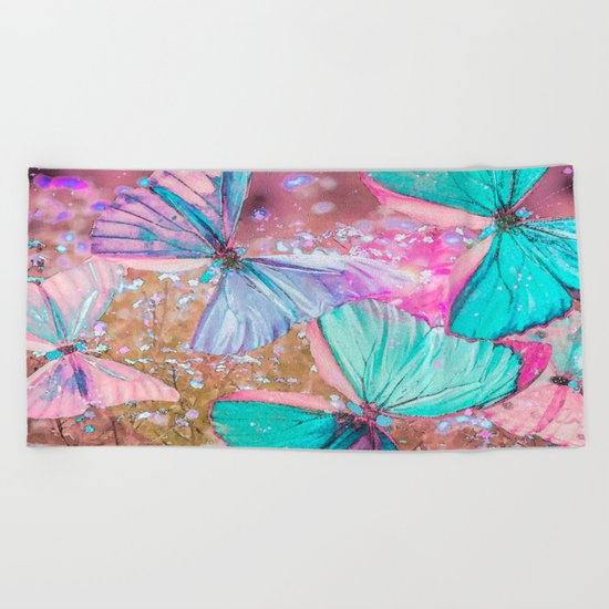Turquoise butterflies on a pink background - lovely summer mood Beach Towel