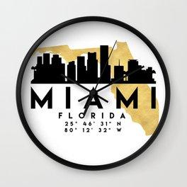 MIAMI FLORIDA SILHOUETTE SKYLINE MAP ART Wall Clock