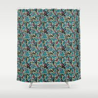 pop art Shower Curtains featuring Pop Art by Eduardo Doreni
