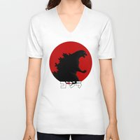 godzilla V-neck T-shirts featuring Godzilla by 100rings