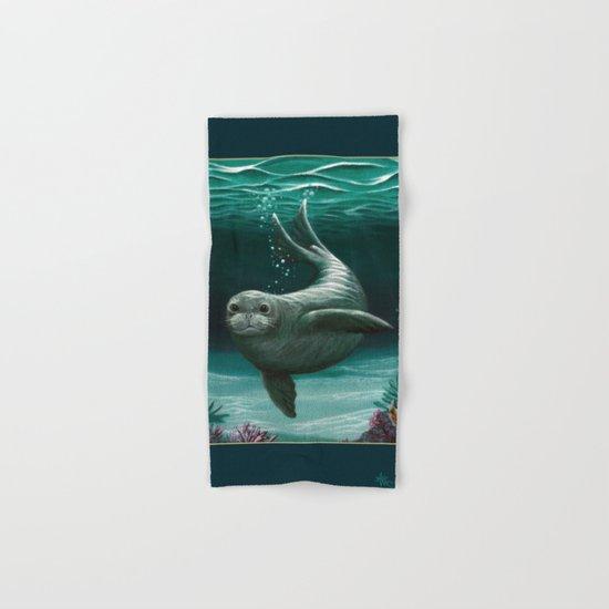 Hawaiian Monk Seal ~ Acrylic Hand & Bath Towel