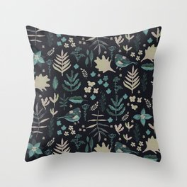 Night Nature Floral Pattern Throw Pillow