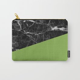 Black Marble and Greenery Color Carry-All Pouch
