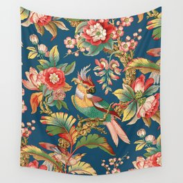Antique French Chinoiserie in Blue Wall Tapestry