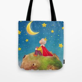 The Little Prince  on a small planet  in  night sky  Tote Bag