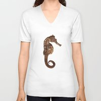 seahorse V-neck T-shirts featuring Seahorse by Julio O. Herrmann