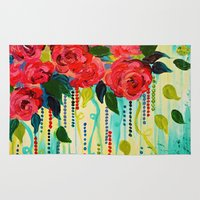 jazzberry Area & Throw Rugs featuring ROSE RAGE Stunning Summer Floral Abstract Flower Bouquet Feminine Pink Turquoise Lime Nature Art by EbiEmporium