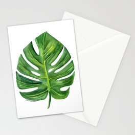 Monstera Leaf Watercolor Painting Stationery Cards
