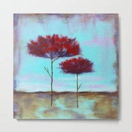 Cherished, Landscape Skinny Red Trees Metal Print