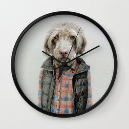 dog in shirt Wall Clock