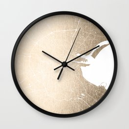 Dublin Street Map Gold and White II Wall Clock