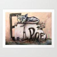edgar allan poe Art Prints featuring Edgar Allan Poe by Andreas Derebucha