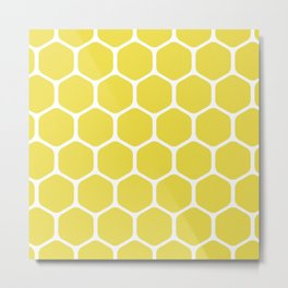 bee nest yellow pattern Metal Print