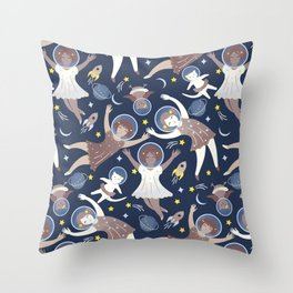 Girls in space Throw Pillow