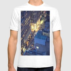 NYC Street at Night White Mens Fitted Tee MEDIUM