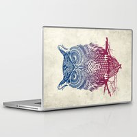 butterfly Laptop & iPad Skins featuring Evening Warrior Owl by Rachel Caldwell