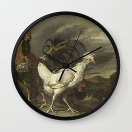 Pieter Jansz van Ruyven - Cock, a Hen and other Poultry Wall Clock
