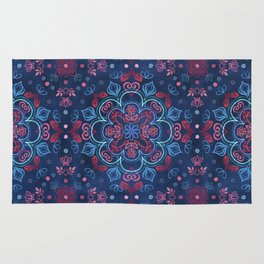 Cherry Red & Navy Blue Watercolor Floral Pattern Rug