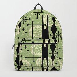 Retro Atomic Mid Century Pattern 771 Sage Backpack
