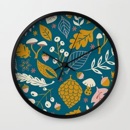 Fall Folige in Blue and Gold Wall Clock