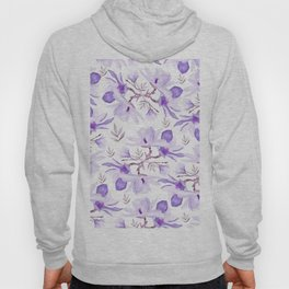 Hand painted lilac purple watercolor magnolia floral pattern Hoody