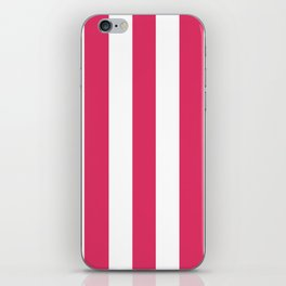 Cerise fuchsia - solid color - white vertical lines pattern iPhone Skin