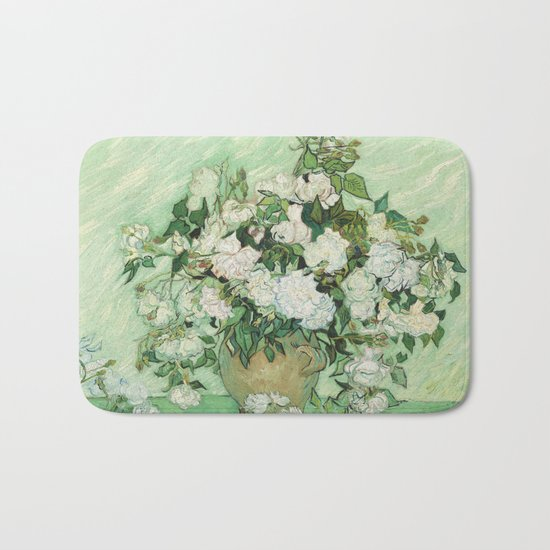 Vase with Pink Roses by Vincent van Gogh Bath Mat
