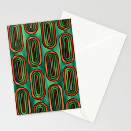 Pattern Retro Style green and orange Stationery Cards