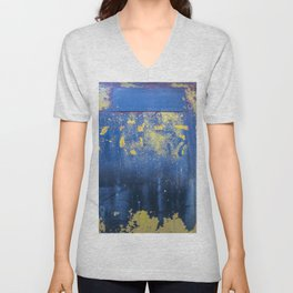 Blue and Yellow Rust Abstact Unisex V-Neck