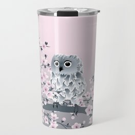 Cute Owl and Cherry Blossoms Pink Gray Travel Mug