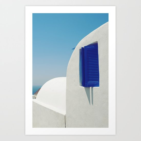 Santorini Blue & White Window Art Print