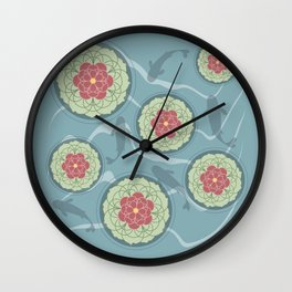 Koi Lotus Pond Wall Clock