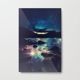 Magical Mountain Lake : Deep Pastels Teal Mauve Metal Print