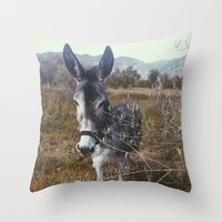 """donkey Throw Pillows featuring """"Retro Donkey"""" by Guido Montañés"""