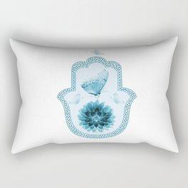Butterfly Lotus Blue Hamsa Hand Rectangular Pillow