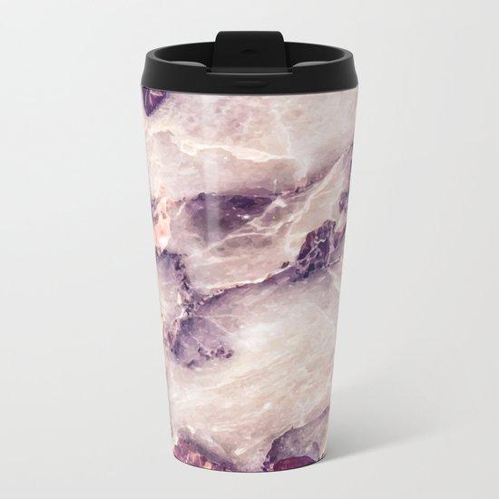 Pink marble texture effect Metal Travel Mug