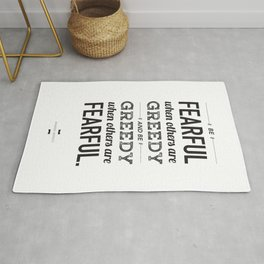 Be Fearful When Others Are Greedy | Typographic | White  Rug