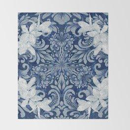 Vintage Floral Wreath Mandala Throw Blanket